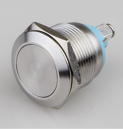 Push Button Momentary Switch, N.O. Metal Dome Push Switch, Shallow Depth 22mm X 28mm, Screw-On Terminals