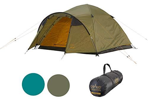 Grand Canyon TOPEKA 3 - Tienda de cúpula para 3 personas, ultraligera, impermeable, tamaño pequeño, para trekking, camping, exteriores   Capulet Olive (verde)