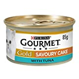 GOURMET Cat Adult Food Gold Savoury Cake Tuna Can, 85 g - Pack of 12