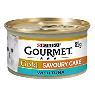 GOURMET Cat Adult Food Gold Savoury Cake Tuna Can, 85g - Pack of 12