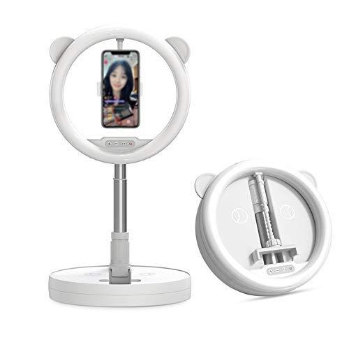 FHQCU Base Móvil Soporte Móvil 128 Cuentas de Lámpara Led No Solo Embellecen la Cara, Vienen con un Soporte para Teléfono Móvil, Que se Puede Girar 360 ° para iPhone Y Android,Blanco