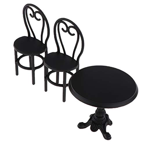 KESOTO Vintage 1/12 Miniature Metal Furniture Set Round Coffee Table Chair for Fairy Garden Dollhouse Outdoor Decor Accessory