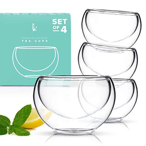 Double Walled Glass Tea Cups, Durable Insulated Cups for Hot Tea, Borosilicate Glass Mug, Fancy Tea Cups Set of 4, 2.5oz