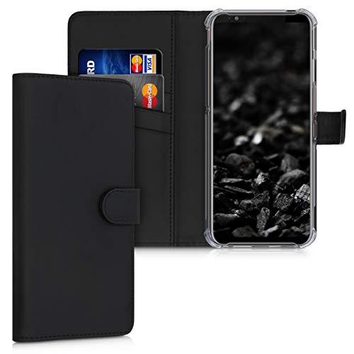 kwmobile Wallet Hülle kompatibel mit ZTE Nubia Red Magic 3 / 3s - Hülle Kunstleder mit Kartenfächern Stand in Schwarz