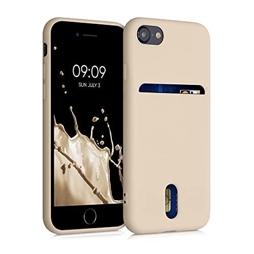 kwmobile Funda Compatible con Apple iPhone 7/8 / SE (2020) - Carcasa de Silicona con Tarjetero y Acabado de Goma - nácar