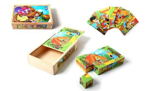 MGM - 050751 - Puzzle - BTE/Bois 15 Cubes - Histoires