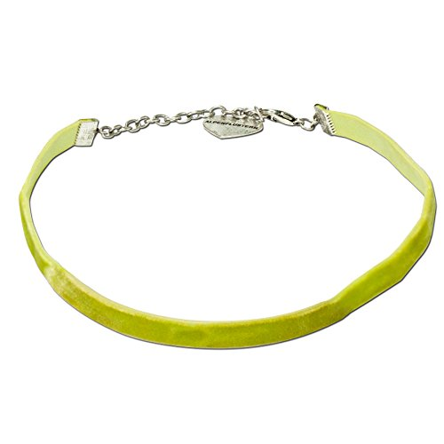 Alpenflüstern Trachten-Samt-Kropfband elastisch - Trachtenkette enganliegend, Velvet Kropfkette, Damen-Trachtenschmuck, Samtkropfband schmal hell-grün DHK076