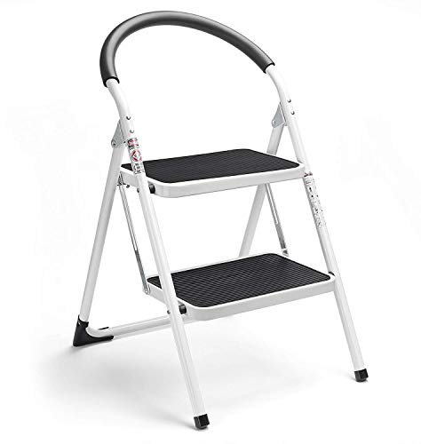 Delxo 2 Step Stool Folding Step Stool Steel Stepladders with Handgrip AntiSlip Sturdy and Wide Pedal Steel Ladder 330lbs White and Black Combo 2Feet 2 Step Stool