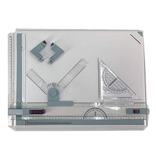 NICCOO Tablero de dibujo manual A3, mesa de dibujo profesional, con accesorios, escala T cuadrada de 51 x 37 cm, multiusos, de plástico, portátil, para ingenieros