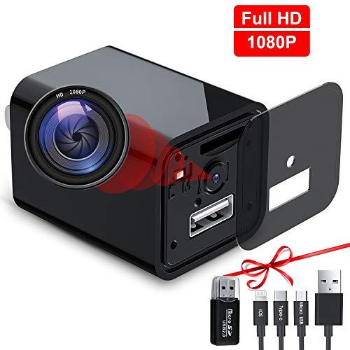 USB Hidden Camera Charger, Mini Spy Camera, USB Spy Camera Wall Charger, Wireless Hidden Cameras and Nanny Camera for Bathroom&Home, Micro Full HD...
