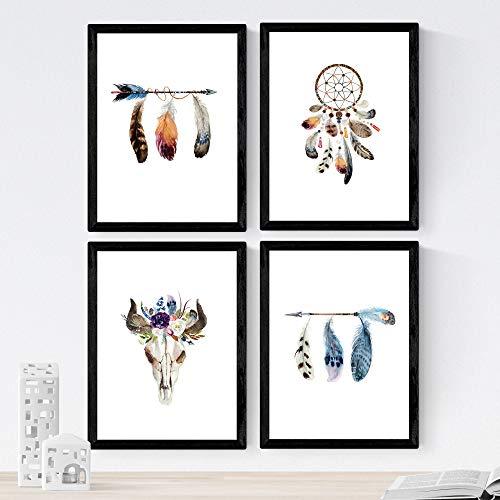 Ensemble de 4 feuilles de plumes et de fleurs colorées Boho, en format A4, Papier affiche 250 gr de haute qualité. Frameless