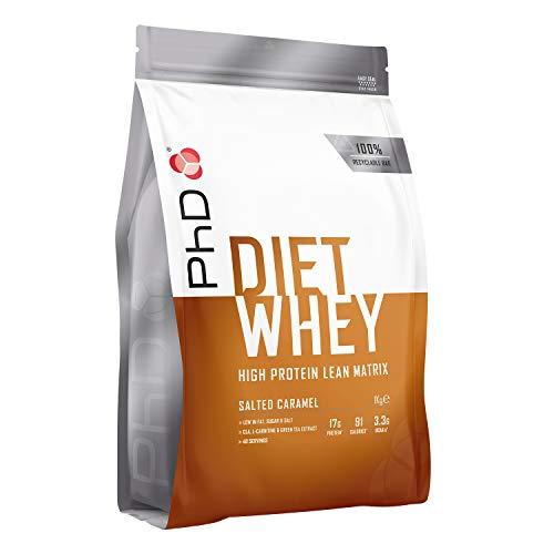 PhD Proteína de Suero Nutricional para Dieta en Polvo Bajo en Calorías, Sustituto de Comidas Rico en Proteínas Bajo en Azúcar con Fibra para Batidos de Adelgazamiento, Sabor Caramelo Salado (1kg)