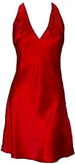IngerT Women Silk Halter Nightwear Chemise Plunging V Neck Babydoll Nightdress Solid Color Dressing Gown Nighties