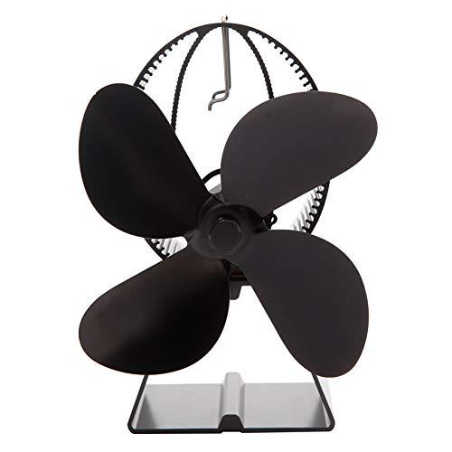 wuxafe Estufa Térmico De 4 Aspas Ventiladores De Chimenea Termodinámicos, para Quemador De Leña Chimenea Distribución De Calor Ecológica Silenciosa (Negro)