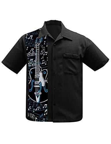 Steady Clothing Hochwertige Hemd Freizeithemd für Männer Herren Bowling Shirt (Schwarz 2, M)