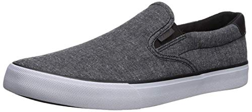 Lugz Men's Clipper Sneaker, Black/White Chambray, 12 M US