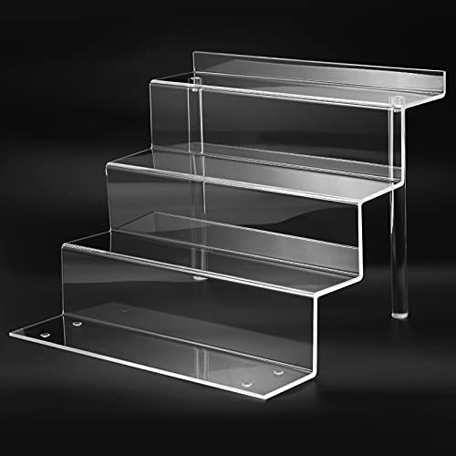 Clear Acrylic Display Riser Shelf forFunko POP, Perfume Makeup Organizer and Pokemon Amiibo Action Figure Holder, 12 in CupcakeStand, Lego Collectibles Display Stand