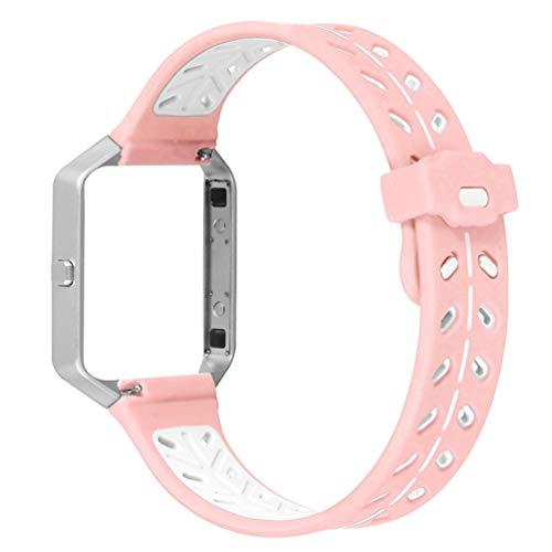 ibasenice Compatible para Fitbit Blaze Correa - Silicona Suave Correa de Reloj de reemplazo Pulsera Correa de Reloj Compatible para Fitbit Blaze (Rosa + Blanco)