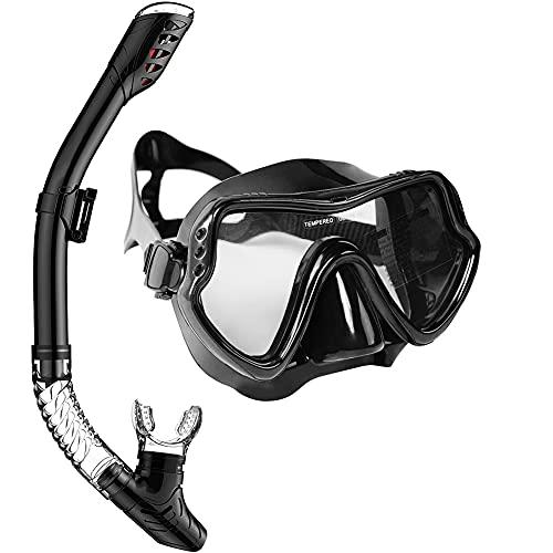 Snorkel Set, Combinado de máscara de Buceo y Snorkel Vista Panorámico de 180°, Profesional y Respiración fácil, Unisex Adulto