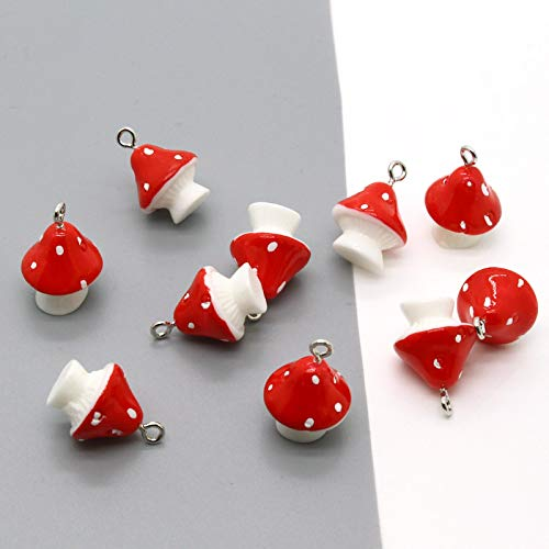 WWWL Pendant Keychain 10pcs 3D Cute Mushroom Food Earring Resin Charms DIY Decoration Pendants For Necklace Keychains Bracelet Jewelry Accessory mogu