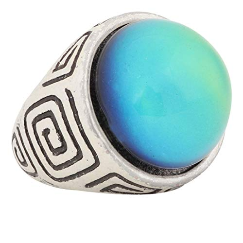 Mood Ring Classic Design Handmade Abstract Pattern Zinc Alloy Antique Sterling Silver Plated Round Shape Temperature Sensing Color Changing Stone Finger Big Rings for Women Men Fashion Unique RS044
