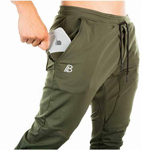 Pantalones Deportivos para Hombre, Finos, Transpirables, de Color sólido, elásticos, Ajustados, Deportivos, Deportivos, para Correr, con Cintura elástica Large