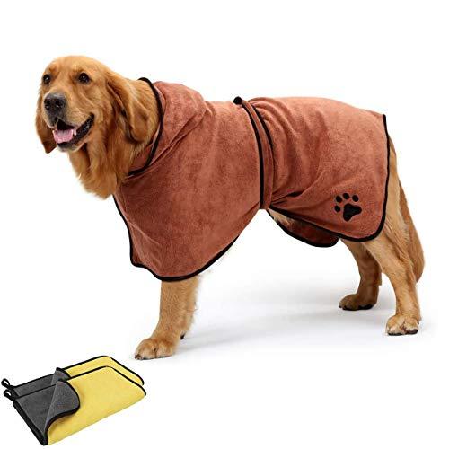 DBAILY Albornoz De Microfibra para Perro Toallas Secadores Rápido para Perros Pequeños Grandes+2pcs Toalla Absorbente De Secado Rápido para Perros para Todo Tipo De Perros y Otras Mascotas(S,Marrón)