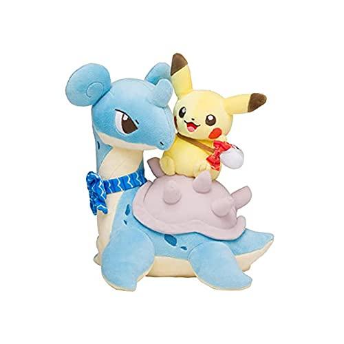kijighg Dibujos Animados Tipo Agua Lapras con Pikach Muñecos De Peluche De Juguete, Pika Anime Pokemones Peluches De Peluche Regalos para Niños 25Cm