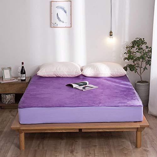 YFWDY matrasbeschermer hoes, gewatteerde matras, schuimmatras topper met hoes, beschermhoes kinderbed, waterdichte tekenbladen, opties voor meerdere maten 180 * 200cm Paars