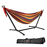 Goutime 9Ft Double Hammock with Detachable Stand ,550 Pound Capacity, Includes Portable Carrying Bag Perfect for Indoor Outdoor Patio, Deck, Yard ,Balcony (Red)