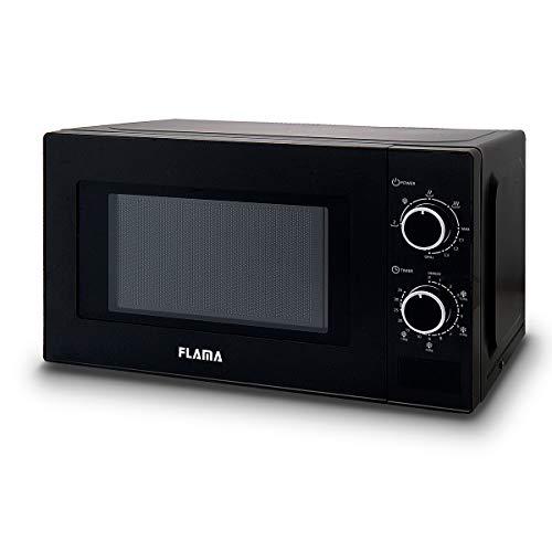 Flama Microondas Negro 1888FL, 700W, Capacidad de 20L, Función Grill con Potencia de 1000W, Función de Descongelación, Mando Analógico
