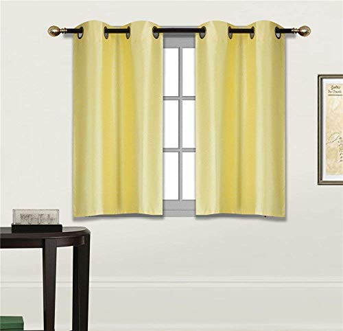 Fancy Linen 2 Panel Faux Silk Blackout Curtain Set Solid Yellow with Grommet Top Room Darkening Short Tier Drapes for Kitchen, Bathroom or Any Small Window New