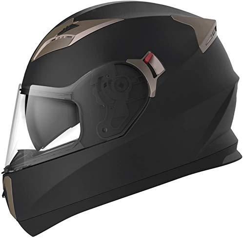 ZLYJ Cascos Motocicleta Modulares Abierto Casco Integral Motocross con HD Anti-Niebla Doble Visera, Anti-Colisión Cara Completa Moto Casco, Certificado ECE A,54-62cm