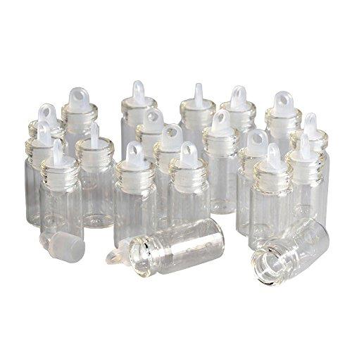Jarvials 100pcs 1ml Mini Botella de Vidrio Transparente de con Tapón de Goma, para Decoración de Bricolaje, Perfumes, Especias, encantos, Bodas, Mensajes, Recuerdos de Fiestas, etc (100,1 ml)
