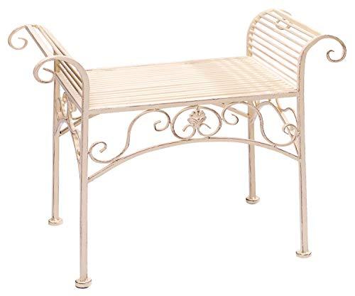 aubaho Gartenbank Eisen Metall Antik-Stil Garten Bank Gartenmöbel Creme Weiss 70cm