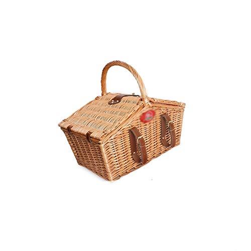 Hogar y cocina Cestas de Picnic Cesta de picnic trenzado de bambú Cesta de aislamiento portátil para cuatro personas, suministros de almacenamiento de picnic para el hogar con vajilla Exterior y Picni