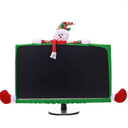 SUSHAFEN 1 Pack Christmas Computer Monitor Border Cover TV Monitor Cover Elastic Laptop Computer Cover for Xmas Home Office Computer Decoration-Snow Man
