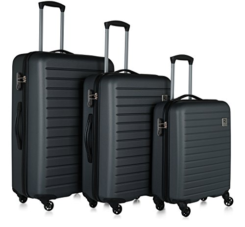 Revelation! Dominica 3-Piece Expandable Upright Hardside Spinner Luggage Set: 31', 27', and 22' (Charcoal)