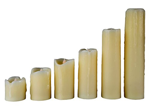 Lily's Home Flameless Flickering LED Wax Pillar Candles, Battery Powered, Scent and Smoke Free, Safe for Use Around Kids and Pets, Ivory (2' Diameter, Assorted Heights, Set of 6)