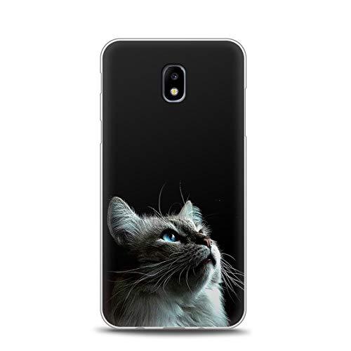 Anfire-ES Funda para Samsung Galaxy J7 2017, Silicona Carcasa de Suave Gel TPU Tapa Flexible Case, Antigolpes Ultra Ligero Cubierta Trasero Slim Protectora Caso Bumper Cover - Gato 2