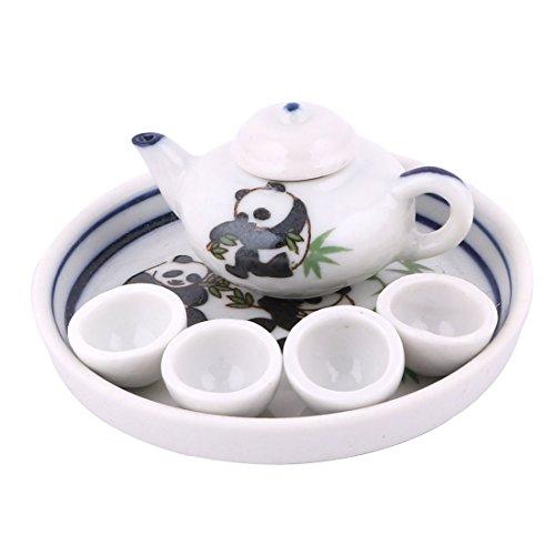 sourcingmap Ceramica Panda Bambù Stampato Casa Mini Piatto Teiera Tazza Set Da Tè