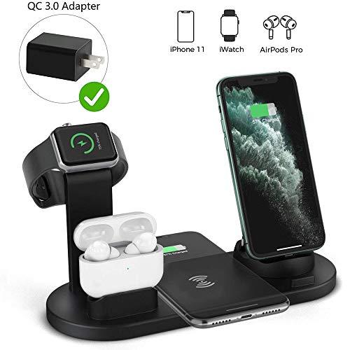 JASZW Wireless-Ladegerät, 3 in 1 Wireless Charging Induktions-Ladestation für iPhone 11 Pro X XS Max XR 8 Airpods Pro Apple-Uhr-Docking-Station (mit qc3.0 Netzadapter)