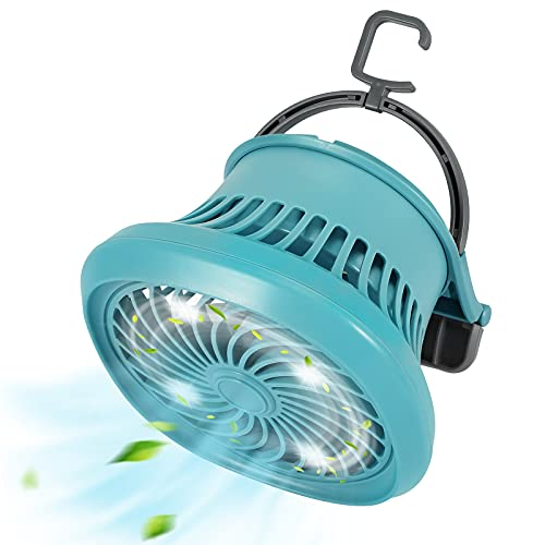 Petrichor Portable Camping Fan for Tent, Rechargeable Solar Fan with LED Lantern and Power Bank, Personal Desk Fan for Home, Office, Tent, Outdoor