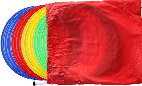 Boje Sport 12er Set Koordinationsringe/Flache Gymnastikringe Ø Ca. 45 cm in 4 Farben inkl. Tragetasche