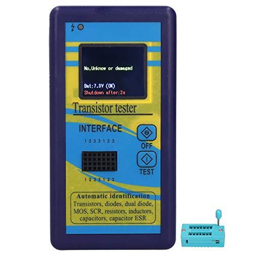 Probador de transistores - Probador de transistores M328 Comprobador de capacitancia de Resistencia gráfica Pantalla Azul DC 9V
