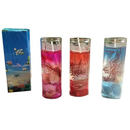 FiedFikt - Vela romántica con conchas marinas y aceite esencial para bodas, románticas, para decoración del hogar, fiestas, festivales, fiestas, regalo de Navidad (color al azar), 1 unidad
