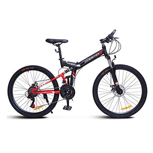 Qinmo 26 Zoll Folding Mountain Bike, vorne und hinten Doppelstoßdämpfung Fahrrad 24 Geschwindigkeit Erwachsener Doppelscheibenbremse Bergfahrräder