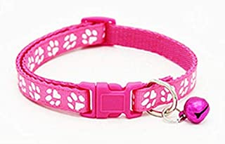 Pink paw print pet collar with removable bell for dogs cats and small animals