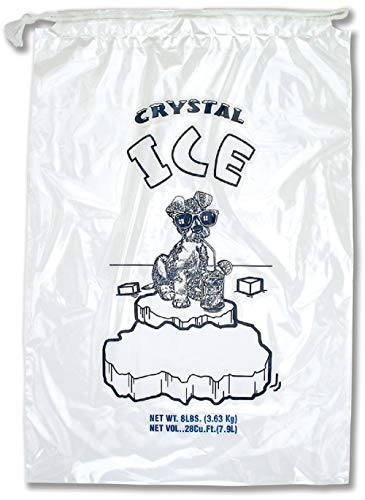 APQ Pack of 500 Drawstring Ice Bags 11 x 18. Crystal Ice Printed Bags 11x18. Thickness 1.5 mil. 8 lbs. BPA Free Food Grade Safe Metallocene Ice Bags.