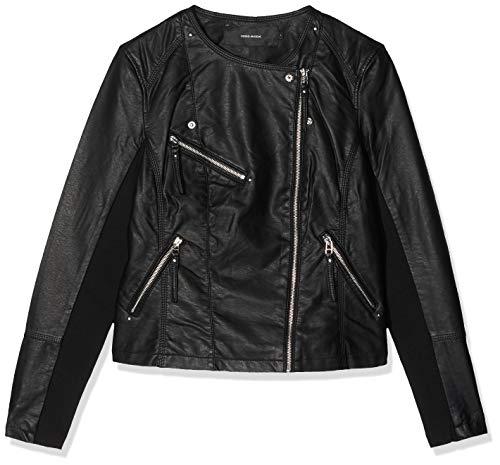 VERO MODA Damen Vmria Fav Short Faux Leather Jacket Noos Jacke, Schwarz (Black Black), 36 (Herstellergröße: S)